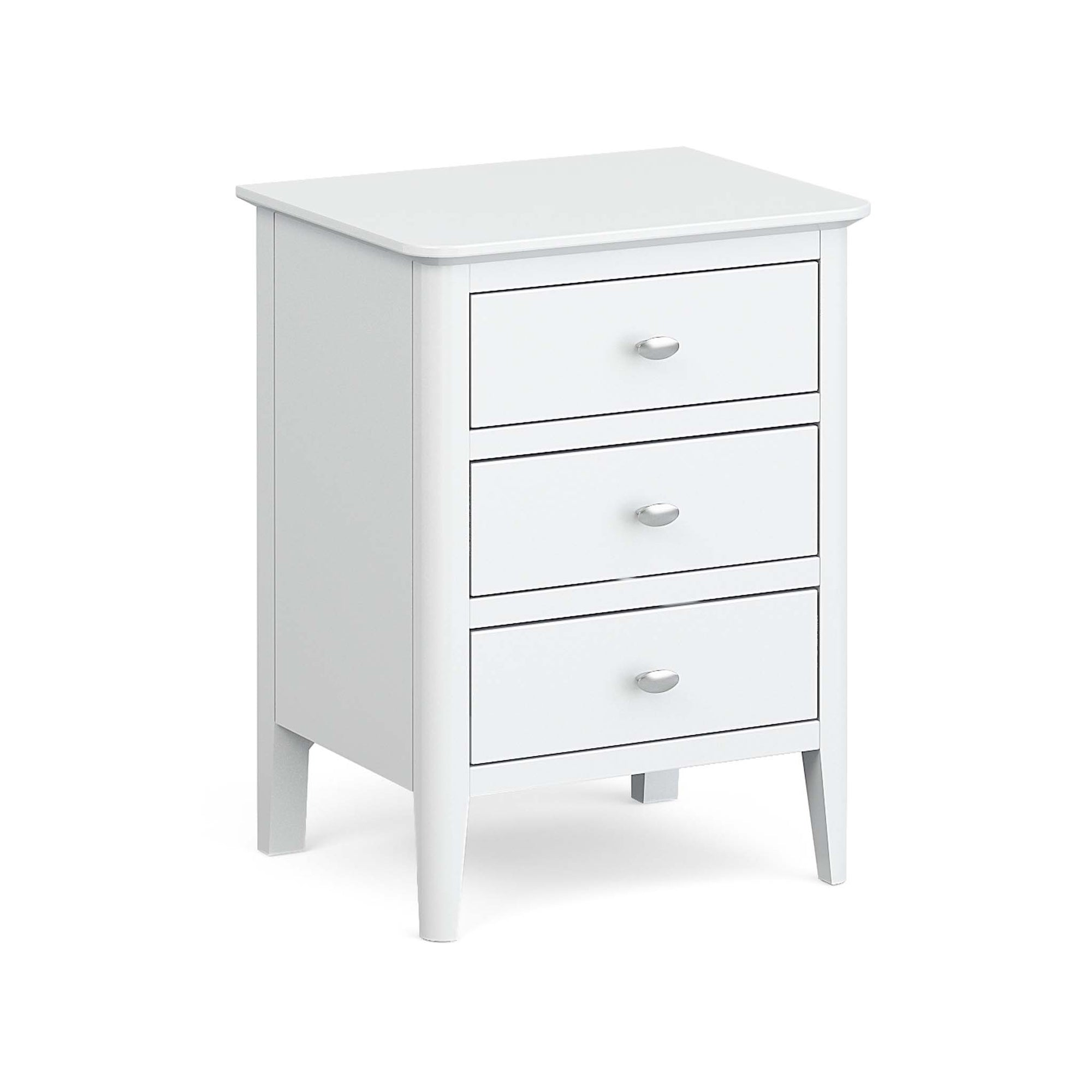 Chester White Bedside Chest of 3 Drawers by Roseland Furniture