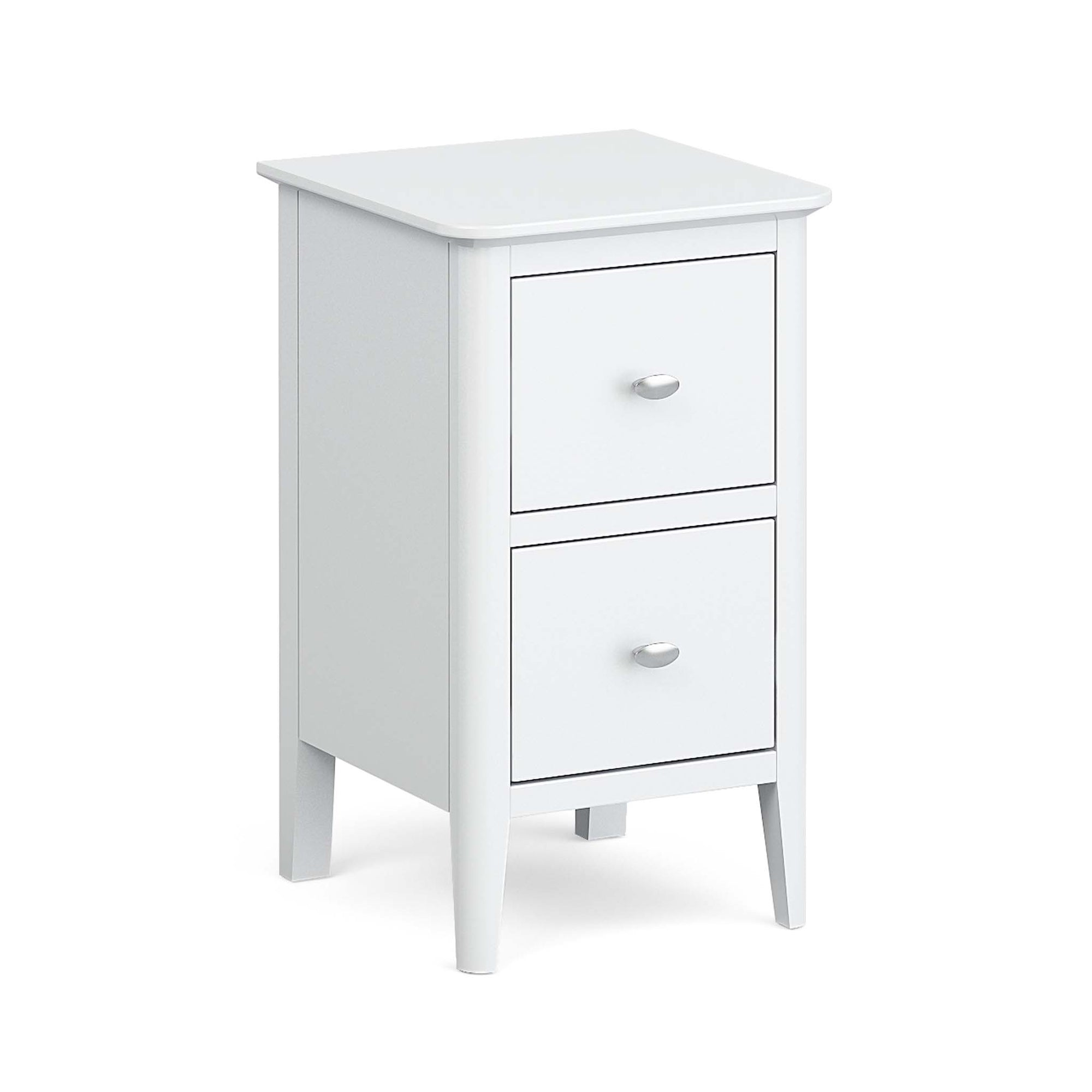 Chester White Narrow Bedside Drawers Table by Roseland Furniture