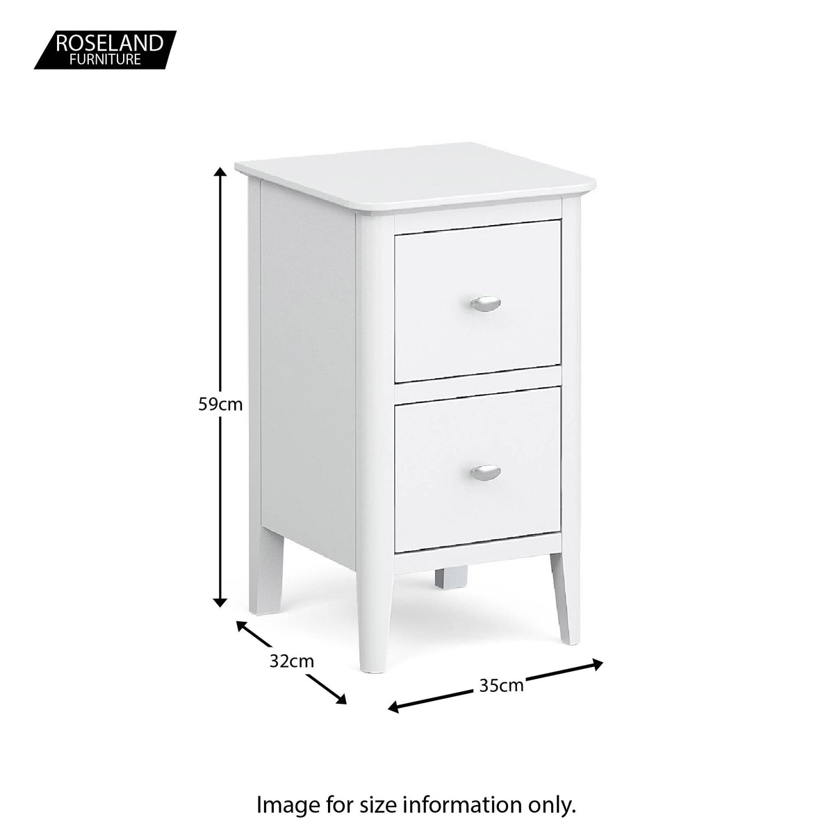 Chester White Narrow Bedside Drawers Table - Size guide
