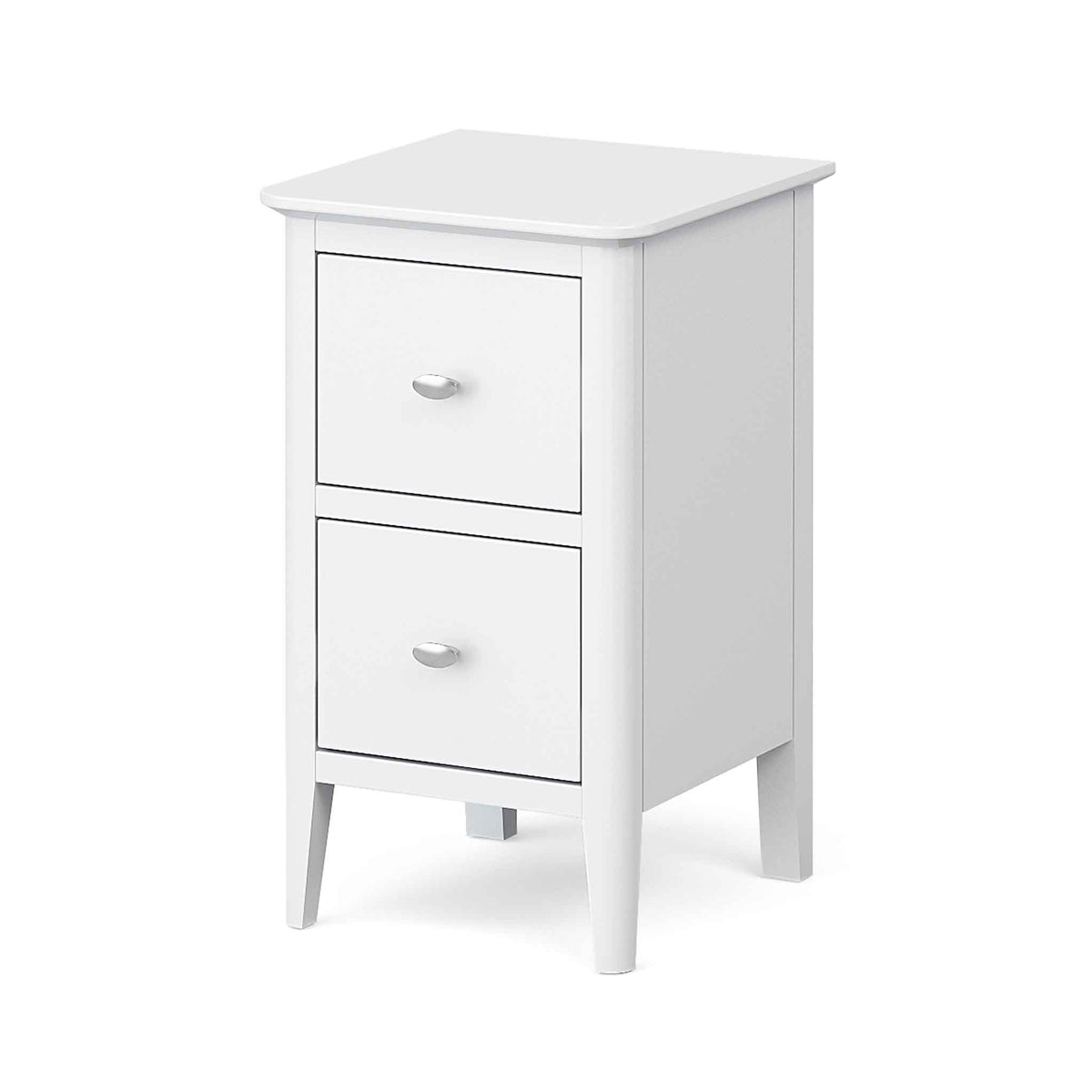 Chester White Narrow Bedside Drawers Table - Side view