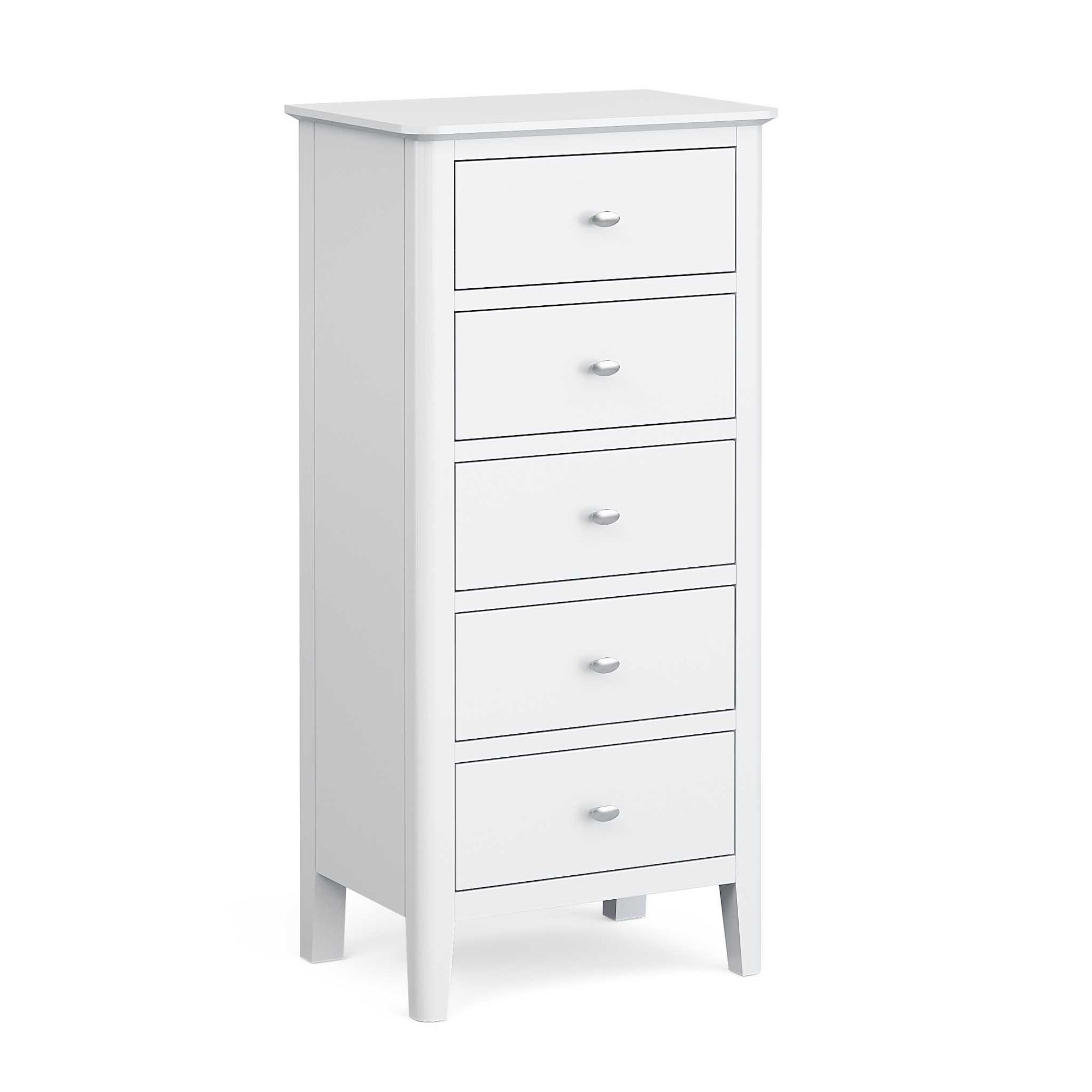 Chester White 5 Drawer Tallboy by Roseland Furniture
