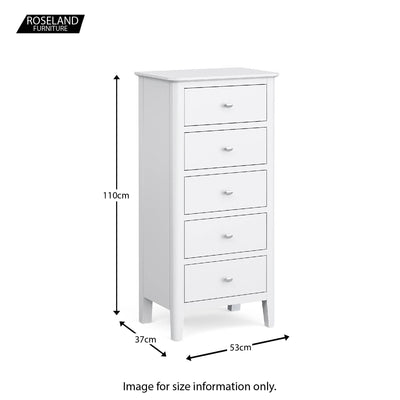 Chester White 5 Drawer Tallboy - Size guide