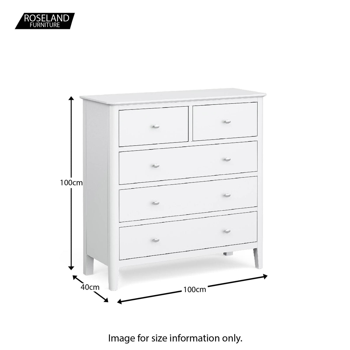 Chester White 2 Over 3 Chest of Drawers - Size guide