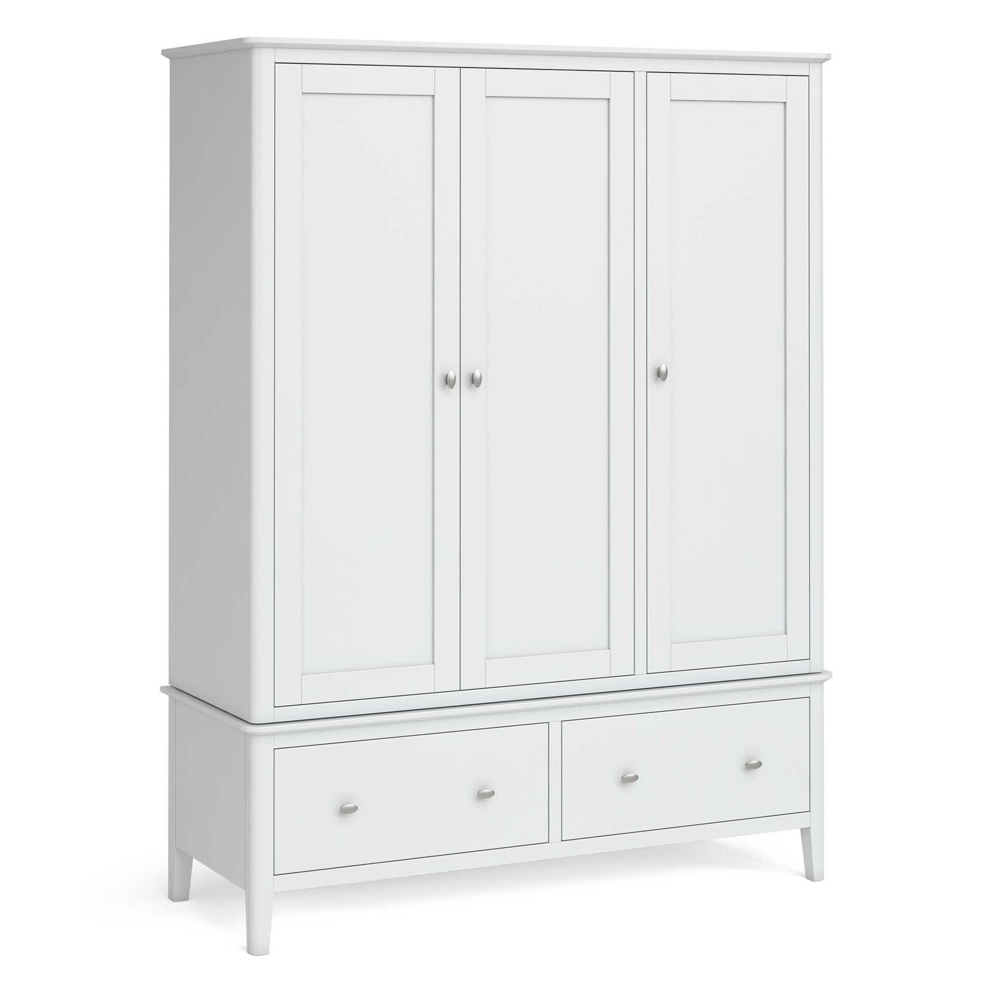 Chester White Triple Wardrobe with Drawers by Roseland Furniture