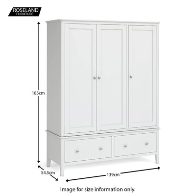 Chester White Triple Wardrobe with Drawers - Size guide