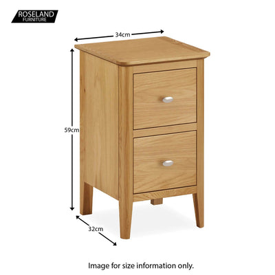 Alba Oak Narrow Bedside Table - Size guide