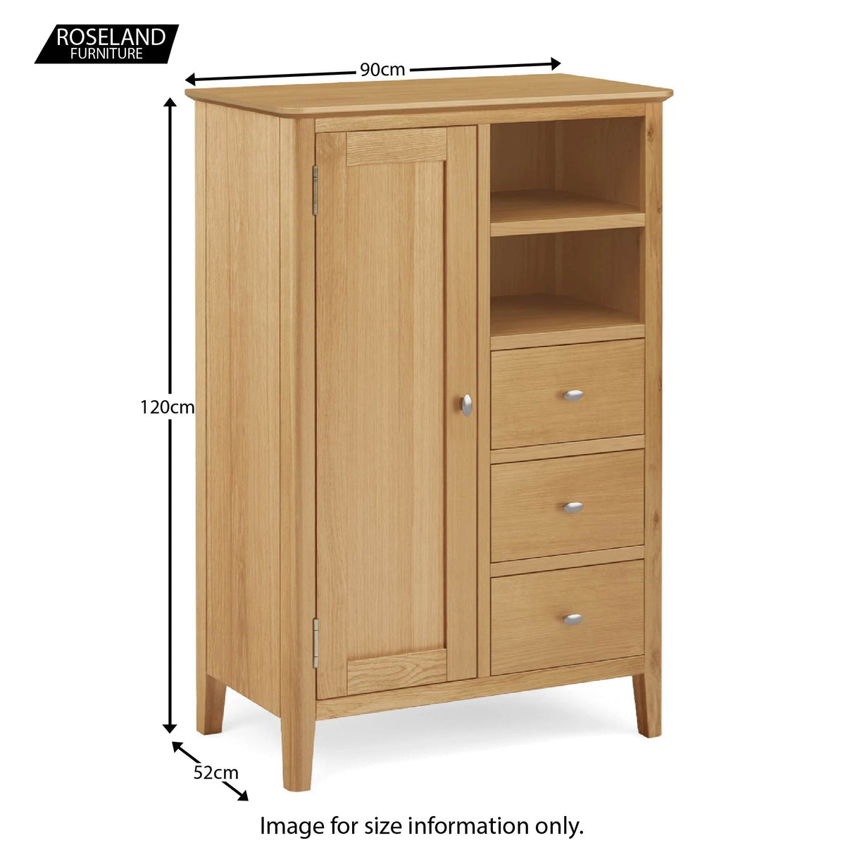 Alba Oak Combination Wardrobe - Size guide