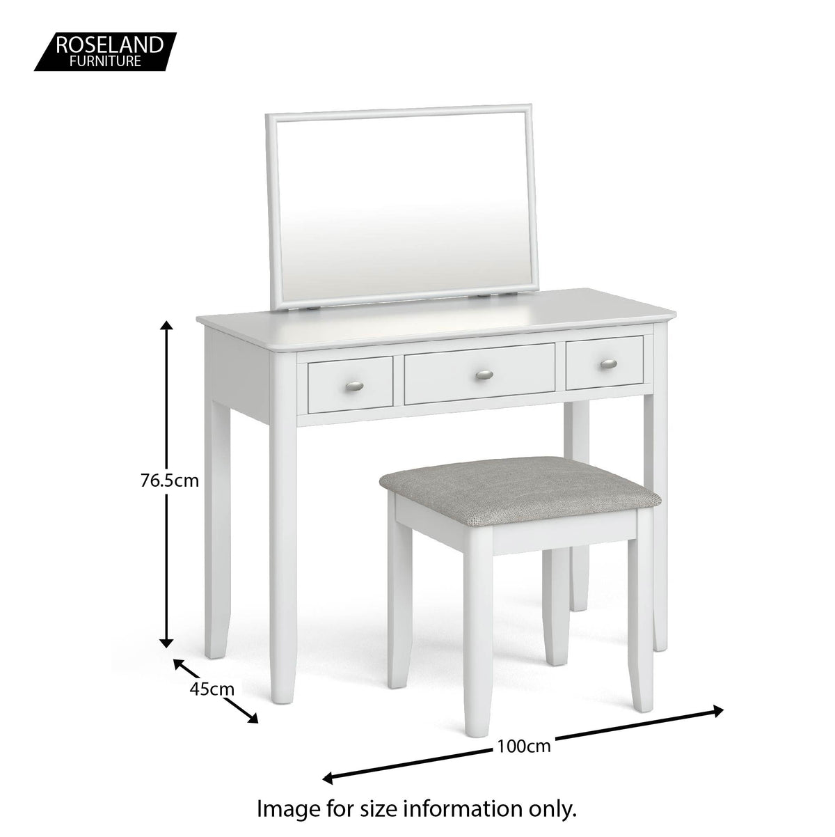 Chester White Dressing Table Set - Size guide