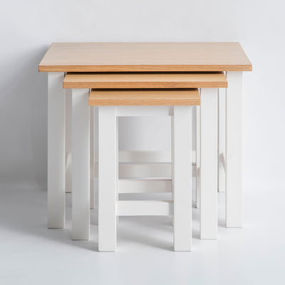 Unstacked view of the Farrow White Nesting Tables