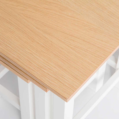 Close up of the oak tables on the Farrow White Nest of Tables