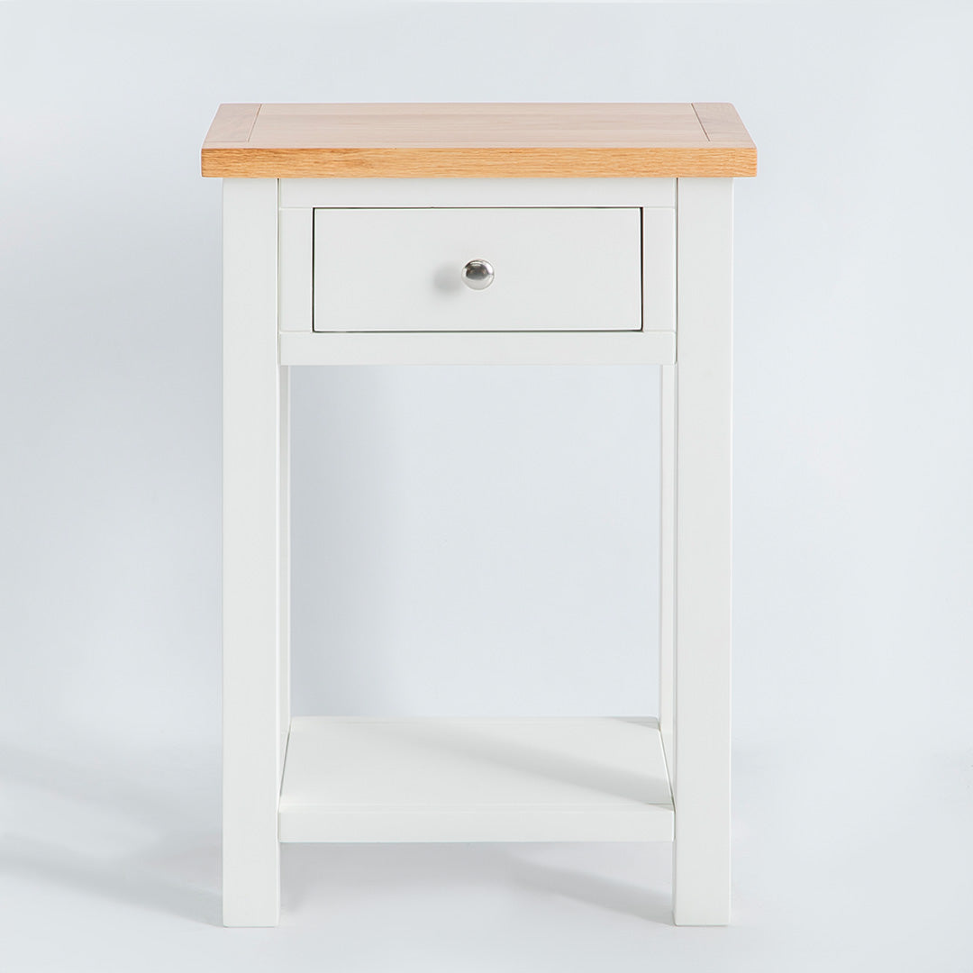 front view of the Farrow White Telephone Side Table with Storage Drawer