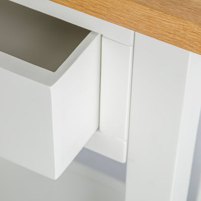 Close up of the storage drawer joint on the Farrow White Telephone Side Table