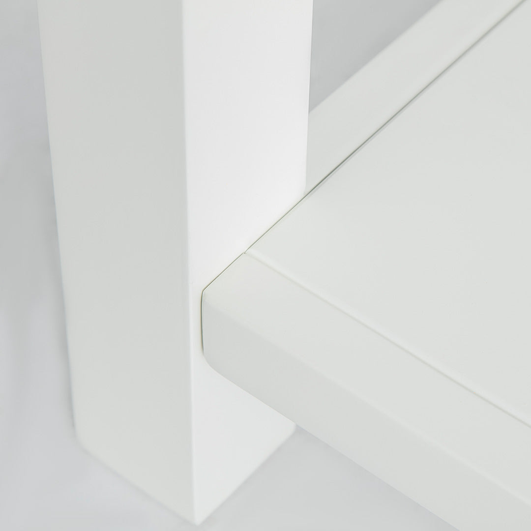 Close up of painted white legs on the Farrow White Telephone Side Table
