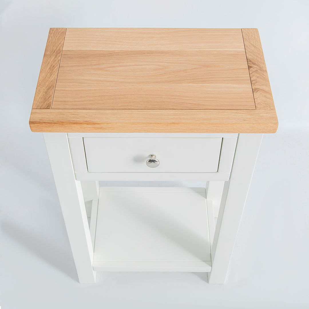 Top view of the Farrow White Telephone Side Table