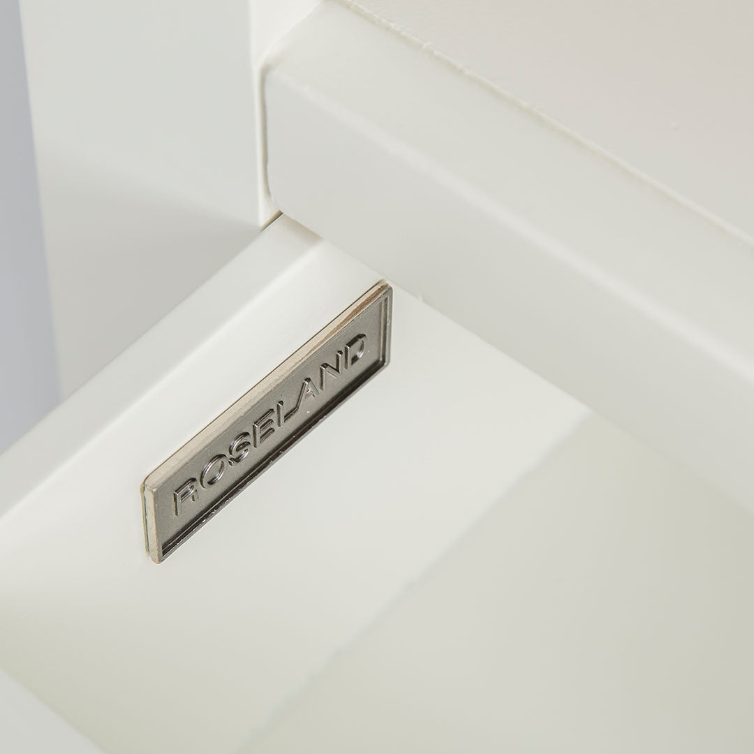 Close up of the internal drawer and metal Roseland label