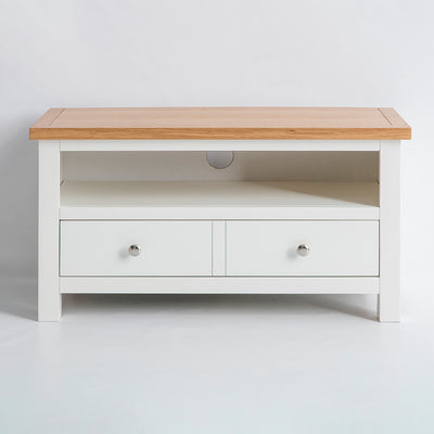 front view of the Farrow White 90cm Small TV Cabinet