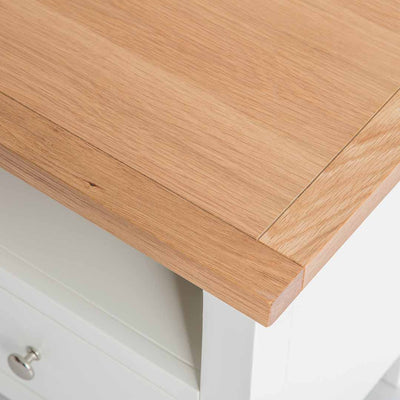 Close up of light oak top on the Farrow White 90cm Small TV Unit