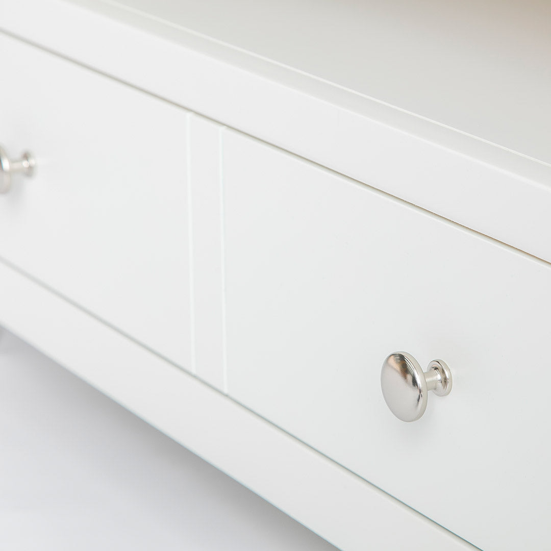 Close up of wide drawer on the Farrow White 90cm Small TV Unit