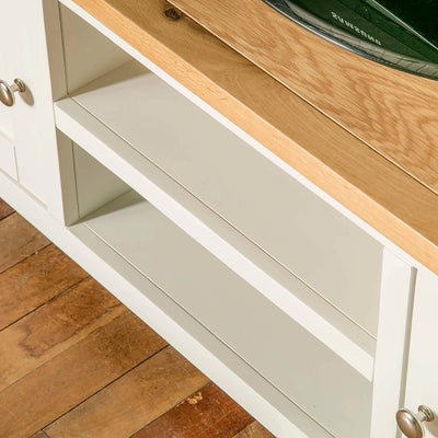 Farrow white 120cm TV Stand Unit mid section shelf view