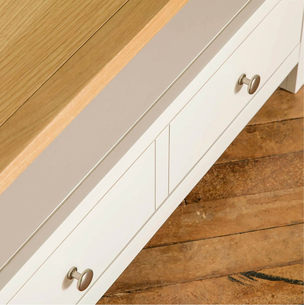 Farrow White Corner TV Stand Unit top view drawer front