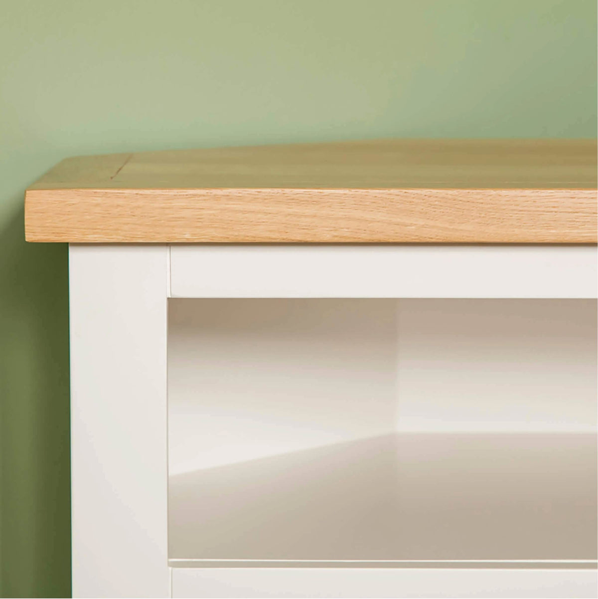 Farrow White Corner TV Stand Unit top front corner view