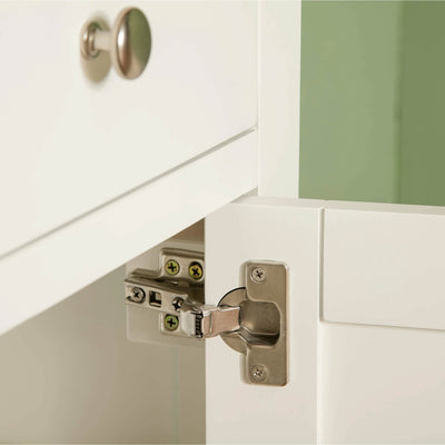 Farrow White Small Sideboard Unit top hinge view