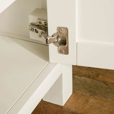 Farrow White Small Sideboard Unit bottom hinge view