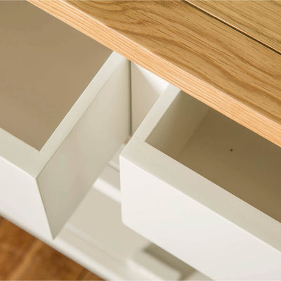 Farrow White Small Sideboard Unit central view of drawers