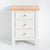 front view of the Farrow White 3 Drawer Bedside Cabinet