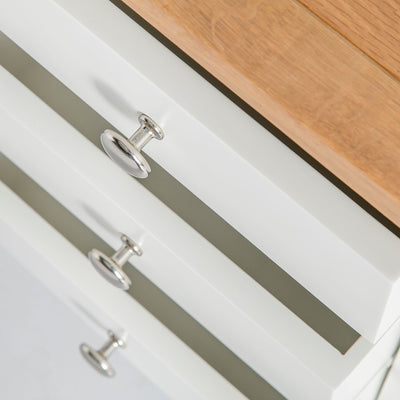 close up of 3 storage drawers on the Farrow White 3 Drawer Bedside cabinet