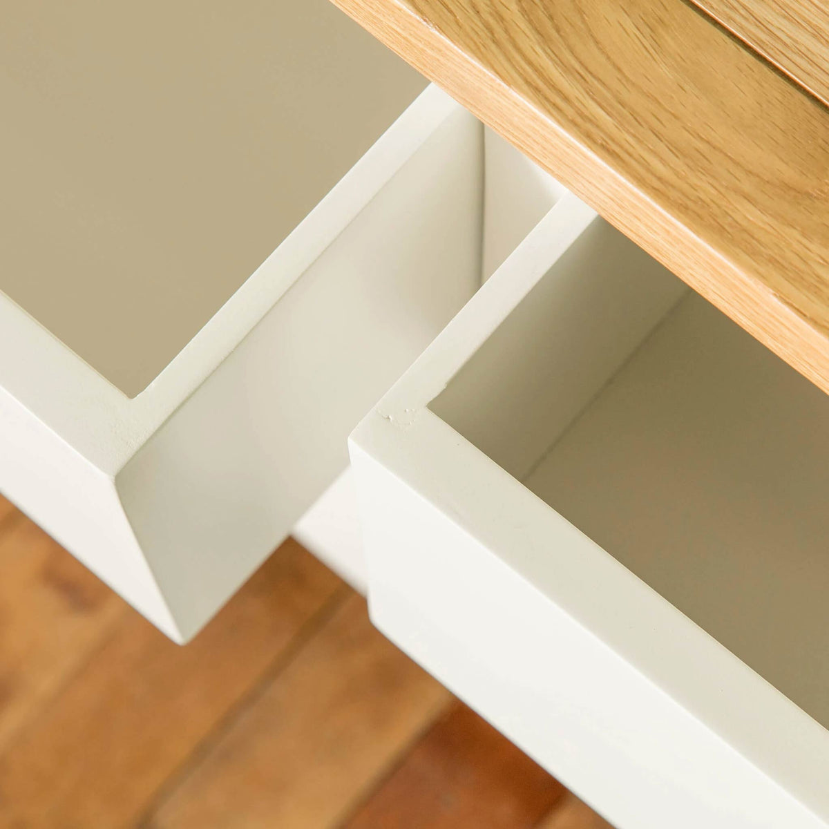Farrow White 6 Drawer Chest of Drawers close up of drawers