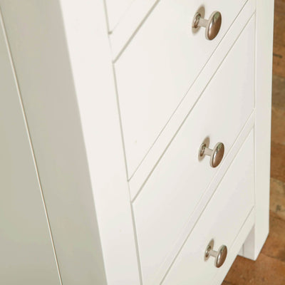 Farrow White 5 Drawer Tallboy front close up view