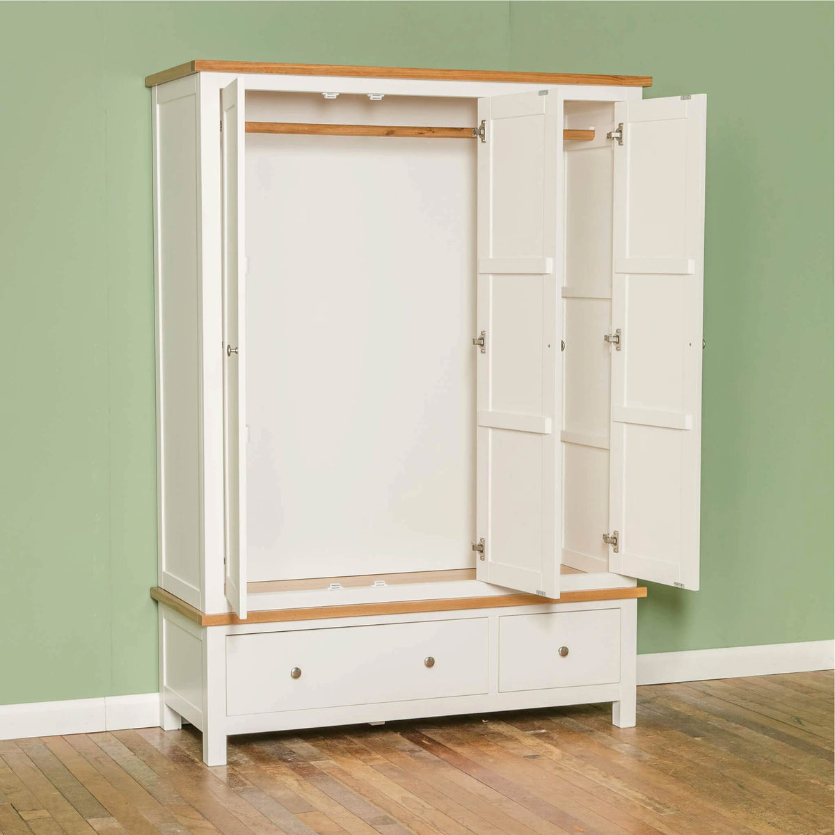 Farrow White Triple Wardrobe with doors open