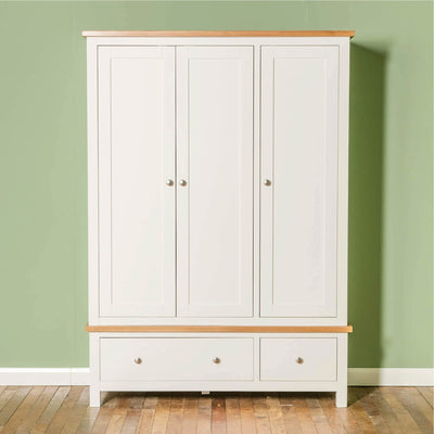 Farrow White Triple Wardrobe front view
