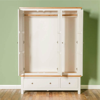 Farrow White Triple Wardrobe front view with doors open