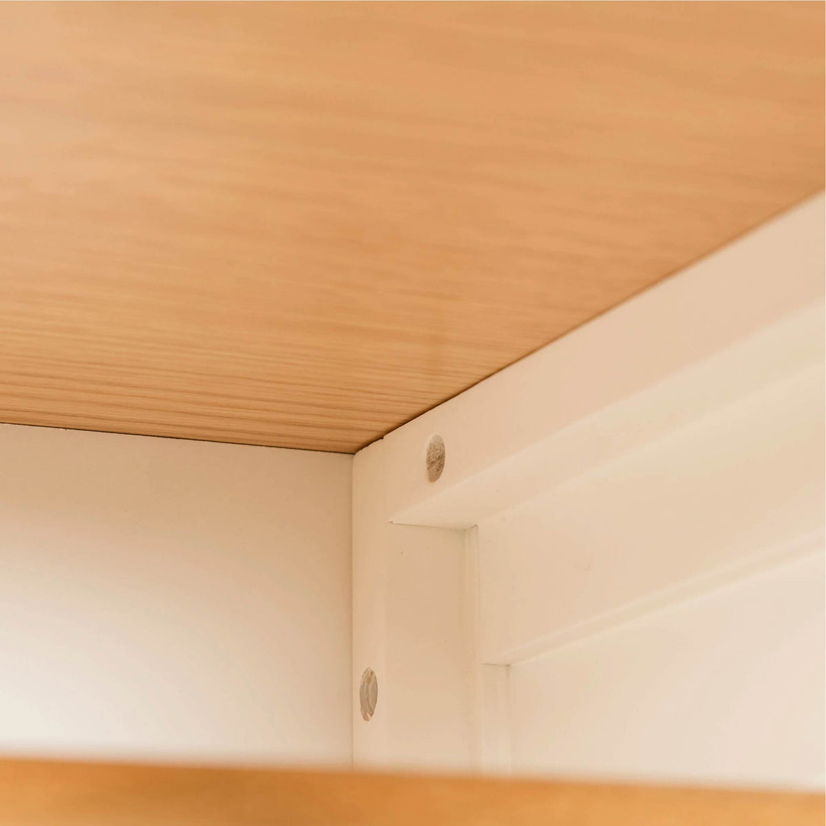 Farrow White Triple Wardrobe inside top corner view