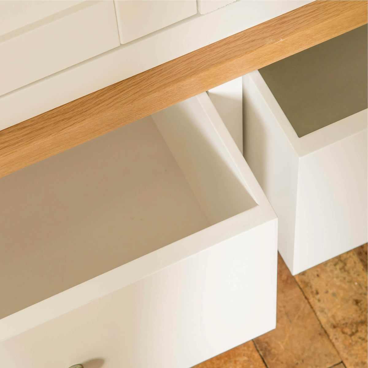 Farrow White Triple Wardrobe drawer view