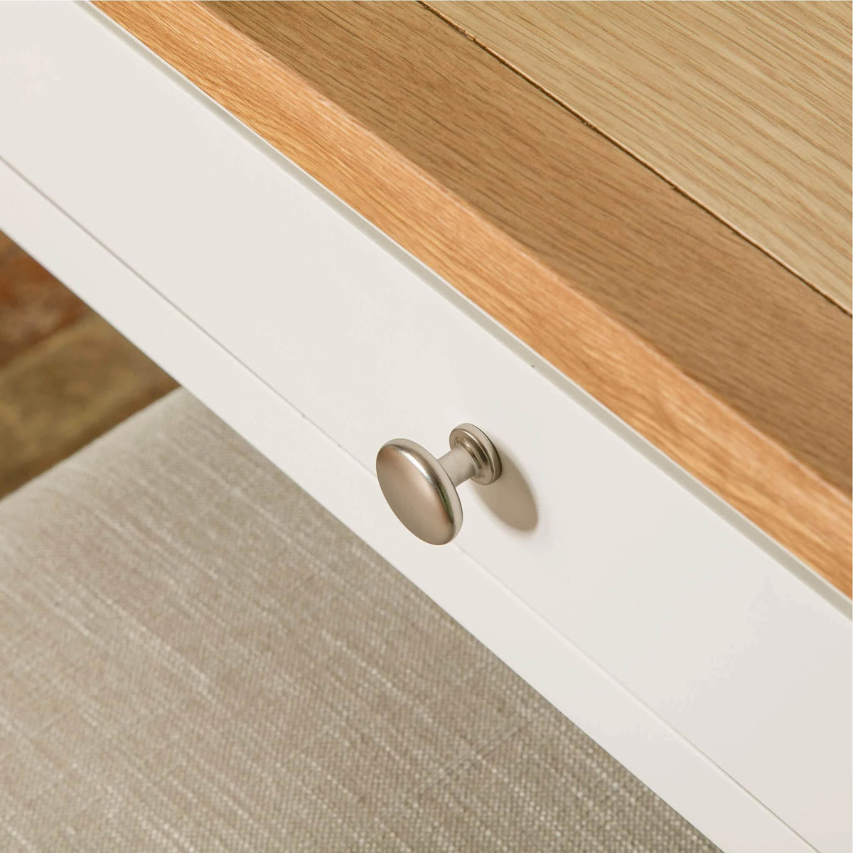 Farrow White Dressing Table Set drawer front view