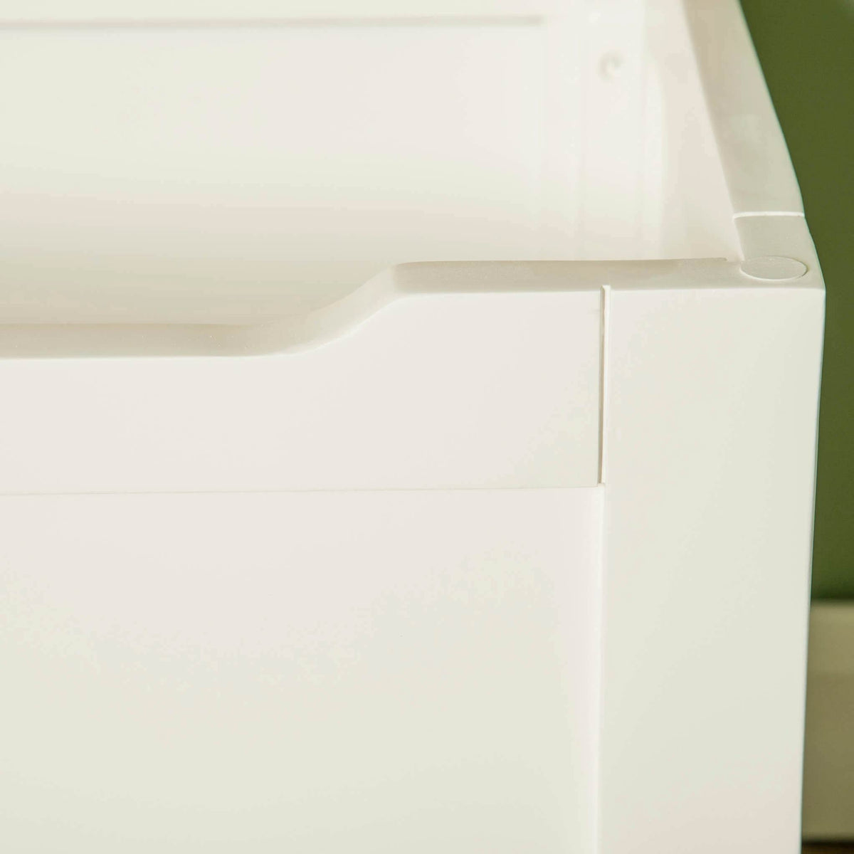 Farrow White Blanket Box Ottoman front corner view with lid up