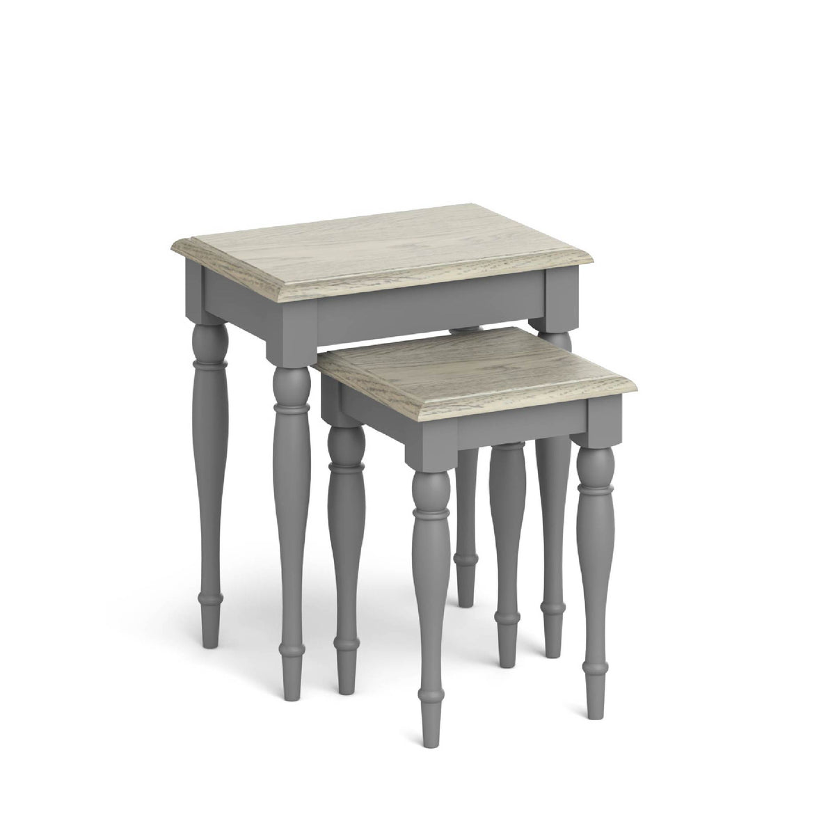 The Mulsanne Grey French Style Nest of Tables with Oak Tops from Roseland Furniture