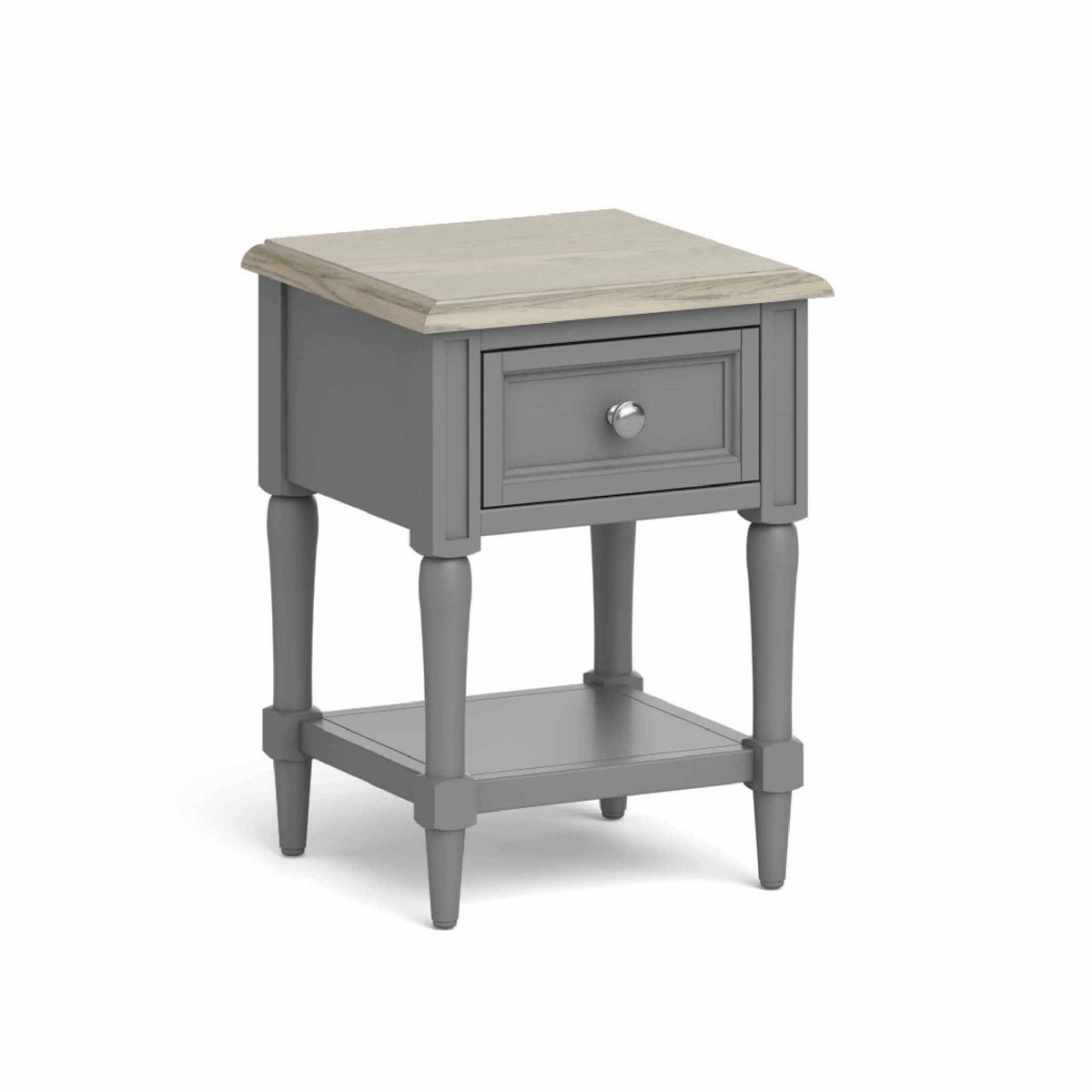 The Mulsanne Grey French Style Side Table with Storage from Roseland Furniture