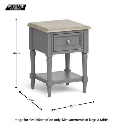 The Mulsanne Grey French Style Lamp Table with Drawer from Roseland Furniture