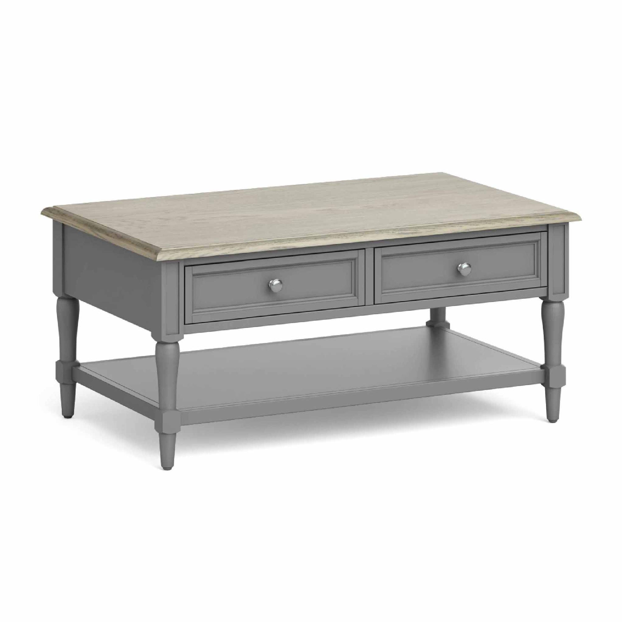 The Mulsanne Grey French Style Coffee Table with Oak Top from Roseland Furniture