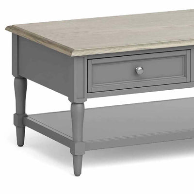 The Mulsanne Grey Coffee Table - Close Up of Drawer