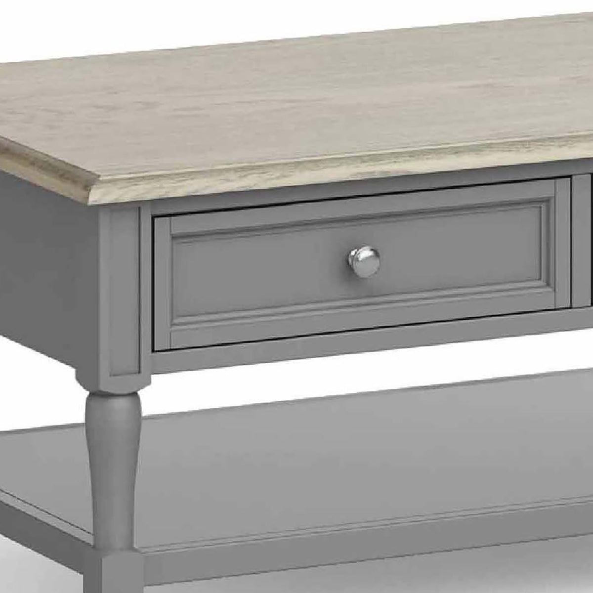 The Mulsanne Grey Coffee Table - Close Up of  Oak Top