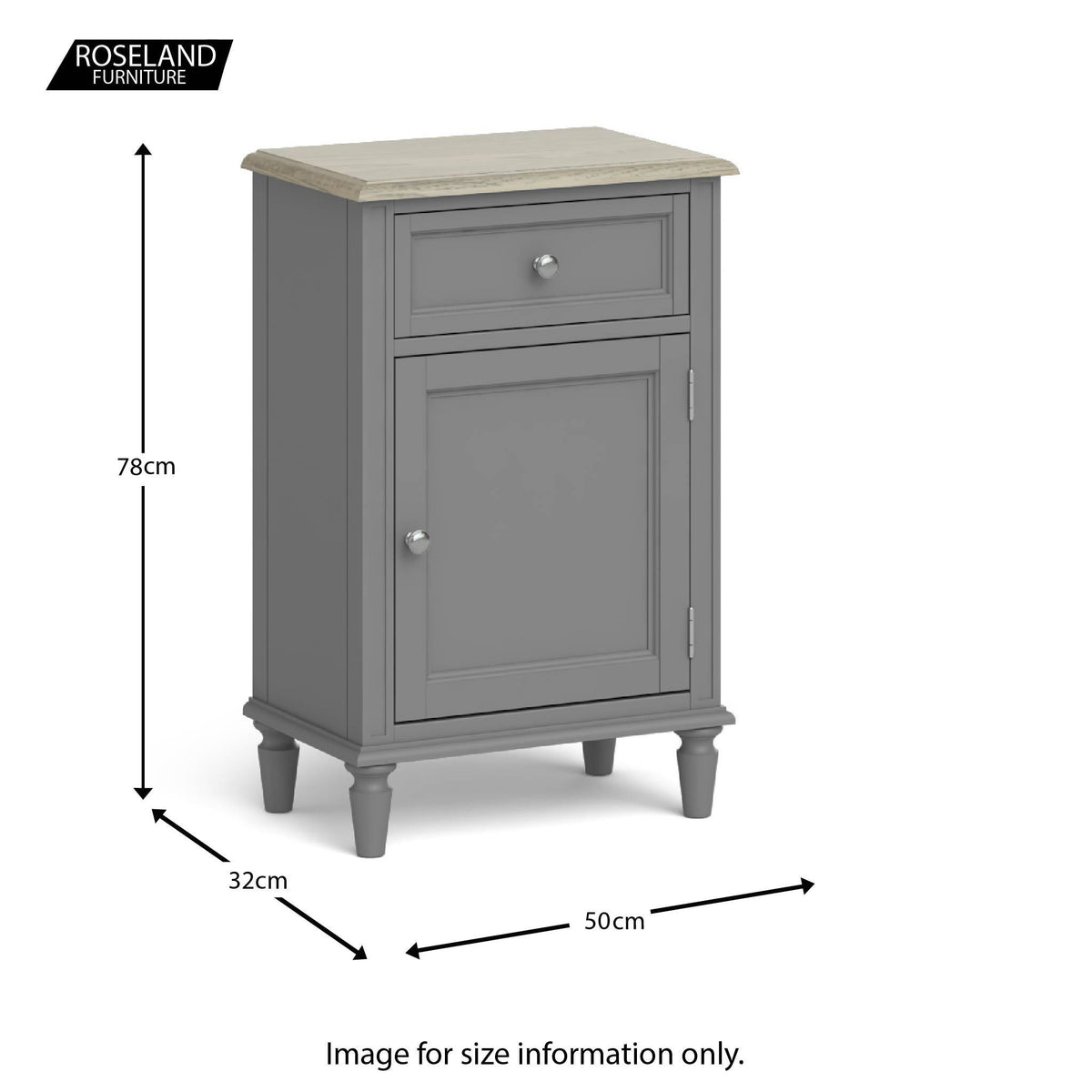 Dimensions for The Mulsanne Grey French Style Hallway Telephone Cabinet