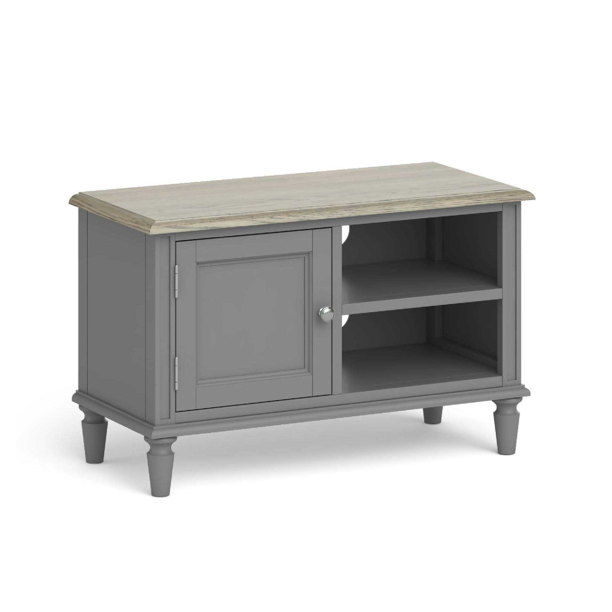 The Mulsanne Grey French Style Small TV Unit with Cupboard from Roseland Furniture