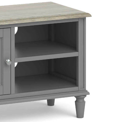 The Mulsanne Grey Small TV Unit - Close Up of  Shelves
