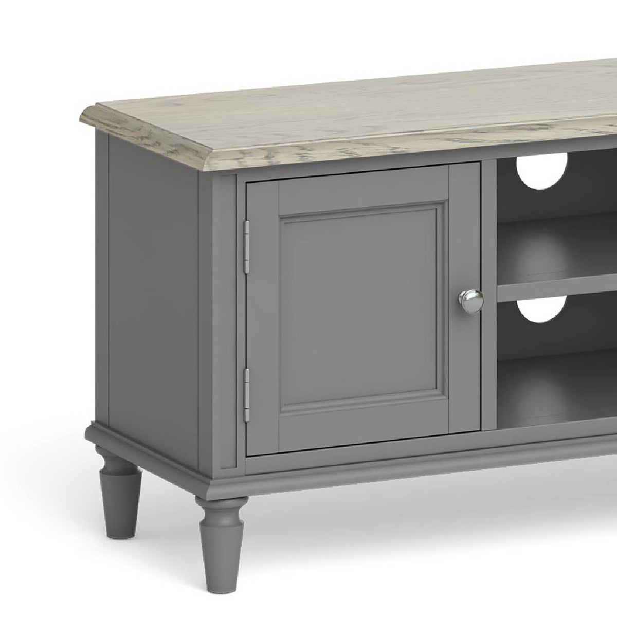 The Mulsanne Grey Large TV Unit - Close Up of Cupboard