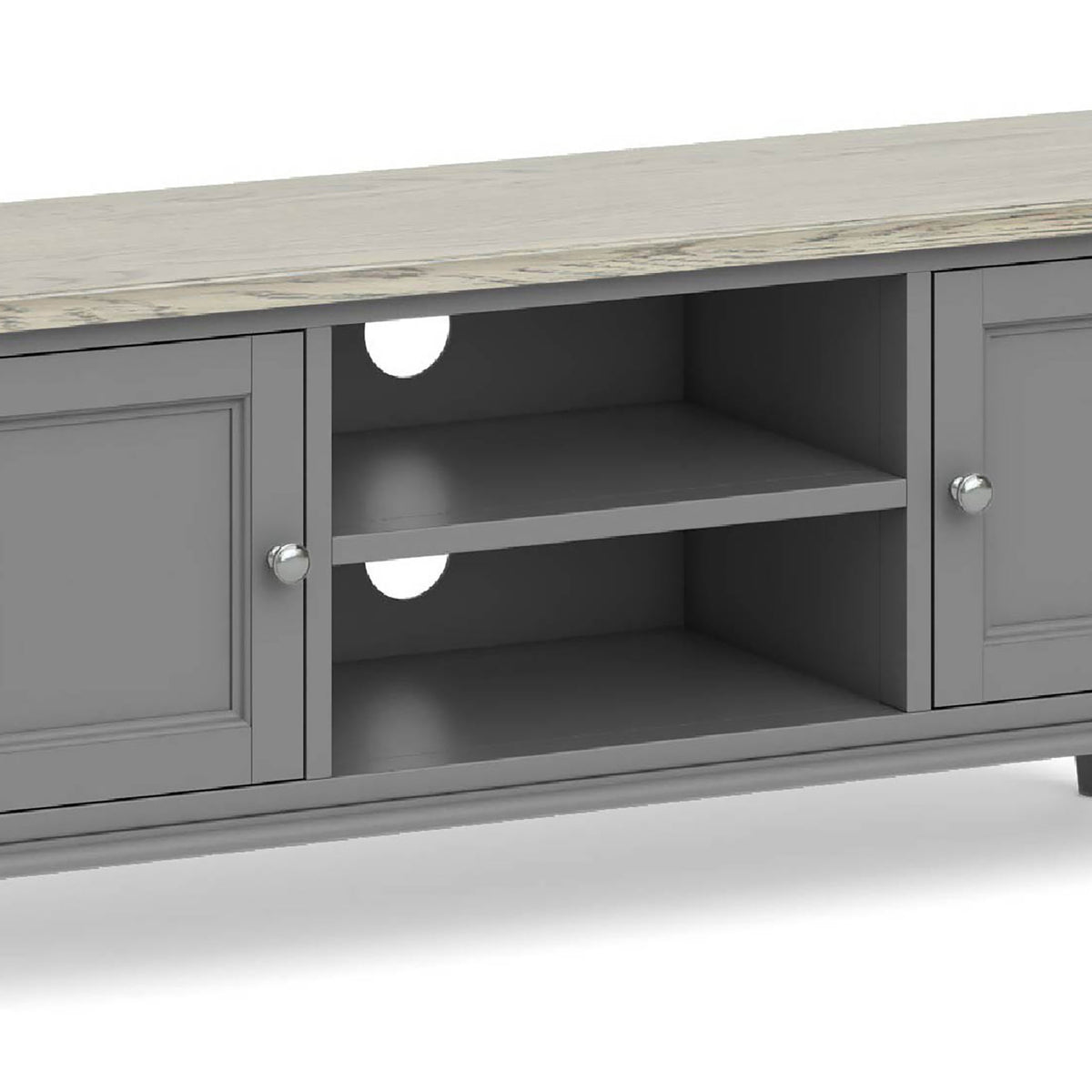 The Mulsanne Grey Large TV Unit - Close Up of  Middle Shelving Section
